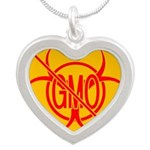 NO GMO Bio-hazard Silver Heart Necklace