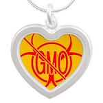 NO GMO Bio-hazard Silver Heart Necklace
