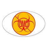 NO GMO Stickers Bio-hazard Stickers Oval 50 pk