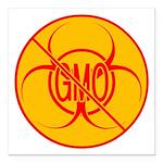 "No GMO Biohazard Square Car Magnet 3"" x 3"""