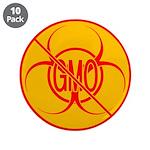 """NO GMO Buttons Bio-hazard GMO 3.5"""" Button 10"""
