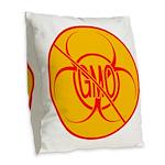 No GMO Biohazard Burlap Throw Pillow