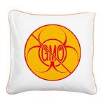 No GMO Biohazard Square Canvas Pillow