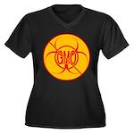 No GMO Bioha Women's Plus Size V-Neck Dark T-Shirt