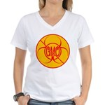 No GMO Biohazard Women's V-Neck T-Shirt