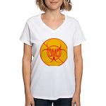 NO GMO Bio-hazard Women's V-Neck T-Shirt