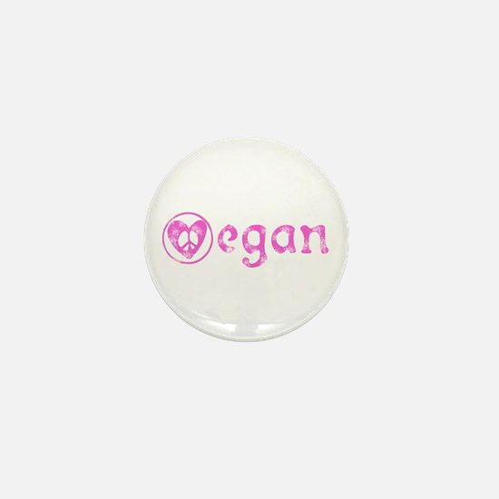 peace, love, vegan Mini Button