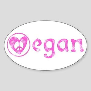 peace, love, vegan Oval Sticker