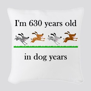 90 birthday dog years 1 Woven Throw Pillow
