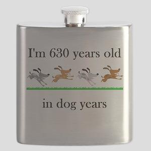 90 birthday dog years 1 Flask
