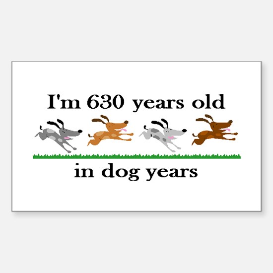 90 dog years birthday 2 Decal
