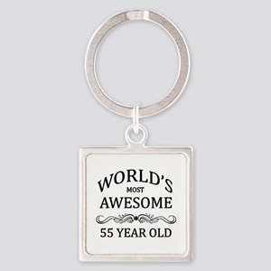World's Most Awesome 55 Year Old Square Keychain