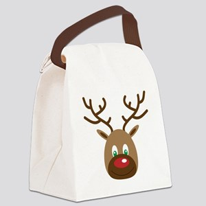 Cute Red Nose Reindeer Canvas Lunch Bag