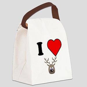 I Heart Blue Eyed Reindeer Canvas Lunch Bag