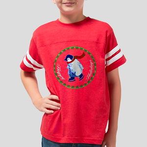 001E-Christmas-penguin-black2 Youth Football Shirt