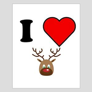 I Heart Red Nose Reindeer Poster Design