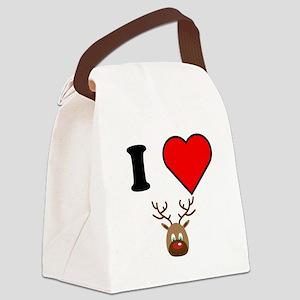 I Heart Red Nose Reindeer Canvas Lunch Bag