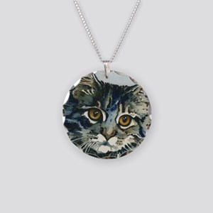 Elfin Maine Coon Cat Necklace Circle Charm