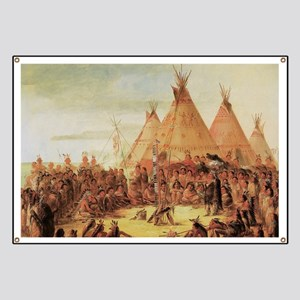 Sioux War Council by George Catlin Banner