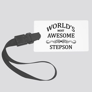 World's Most Awesome Stepson Large Luggage Tag
