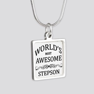 World's Most Awesome Stepson Silver Square Necklac