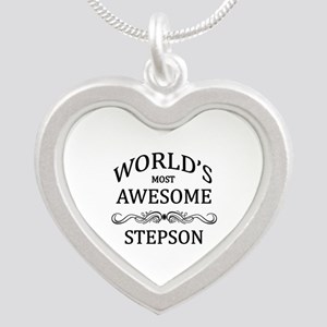 World's Most Awesome Stepson Silver Heart Necklace