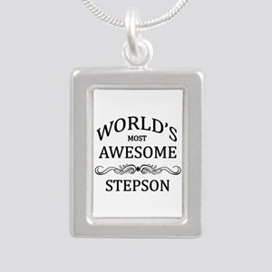 World's Most Awesome Stepson Silver Portrait Neckl
