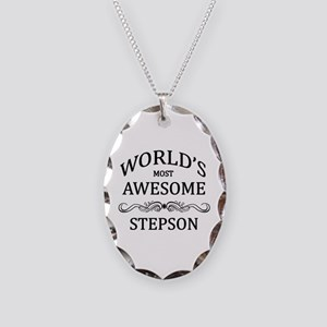 World's Most Awesome Stepson Necklace Oval Charm