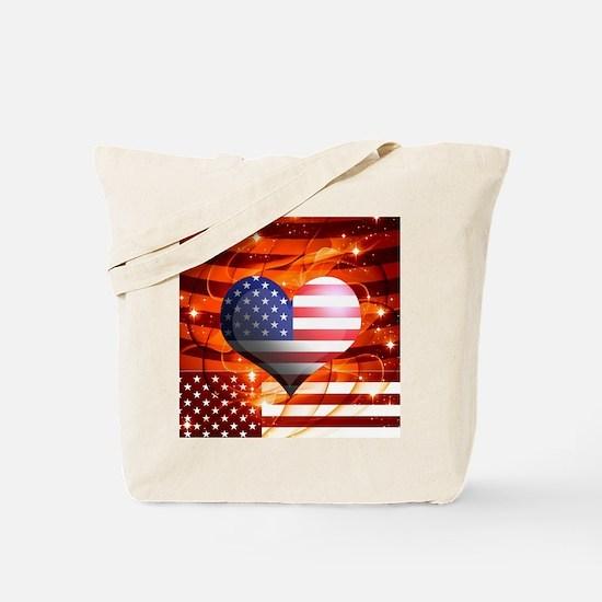 USA american flag heart patriotic design Tote Bag