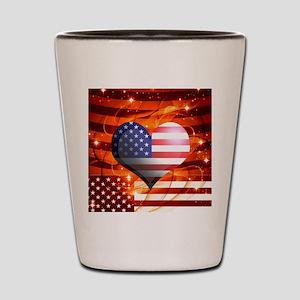 USA american flag heart patriotic desig Shot Glass