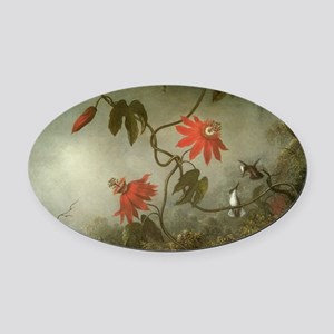 Passion Flowers and Hummingbirds b Oval Car Magnet