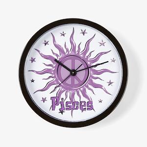 Peace Sun Pisces Wall Clock