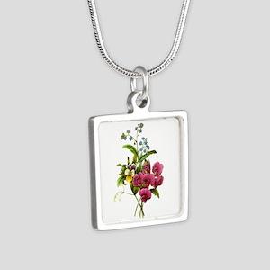 Redoute Bouquet Silver Square Necklace