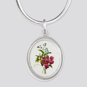 Redoute Bouquet Silver Oval Necklace