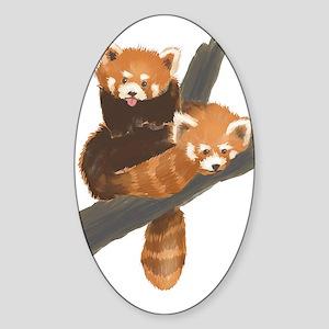 Red Pandas Oval Sticker