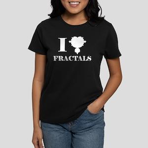I Love Fractals Mathematics Women's Dark T-Shirt