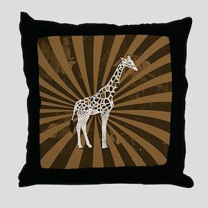 Retro Giraffe  Throw Pillow