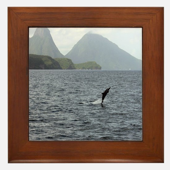 Gros and Petit Mountains Saint Lucia Framed Tile