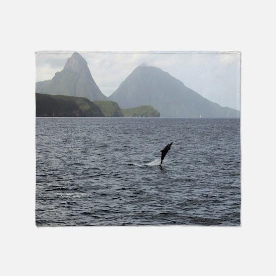Gros and Petit Mountains Saint Lucia Throw Blanket