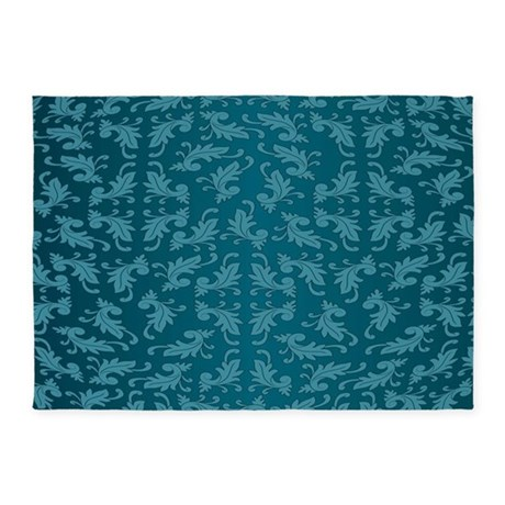 Blue Damask 5 X7 Area Rug By Decorativedesigns
