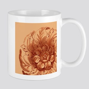 Flower on Orange 11 oz Ceramic Mug