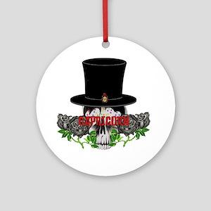 Capricorn Skull Round Ornament