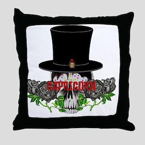 Capricorn Skull Throw Pillow