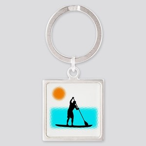 Paddle Boarder Square Keychain