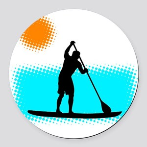 Paddle Boarder Round Car Magnet