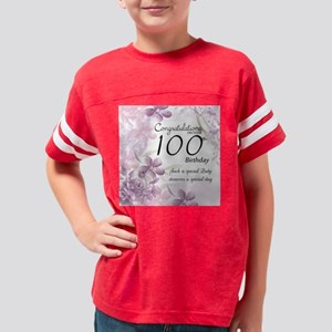 100th Birthday Floral Celebra Youth Football Shirt