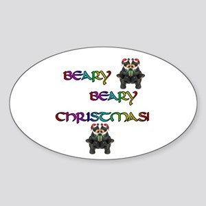 BEARY BEARY CHRISTMAS W/BEARS Oval Sticker
