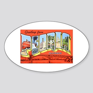 Peoria Illinois Greetings Oval Sticker