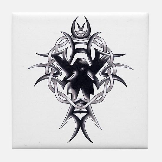 Celtic Cross Tribal Tattoo Tile Coaster
