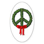 Peace Wreath Oval Sticker